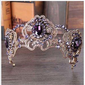 Jeweled faux amethyst and rhinestone tiara